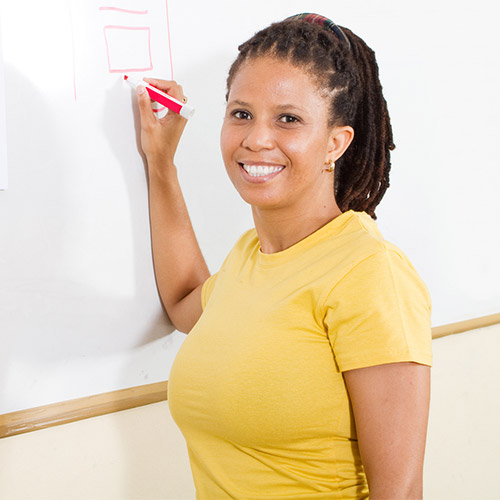 Women Using Dry Erase Marker on White Board